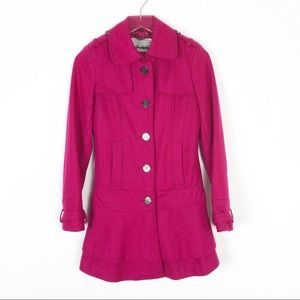 Guess Hot Pink Wool Trench Coat Size XS